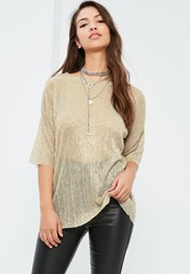 Missguided Gold Pleated Metallic T Shirt