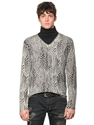 Just Cavalli Feather Printed Silk And Wool Sweater White Black