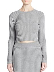 Knitz By For Love And Lemons B2b Ribbed Knit Crop Top Grey