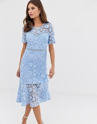 Liquorish Lace Midi Dress With Flared Hem Blue