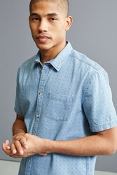 Urban Outfitters Uo Ditsy Denim Short Sleeve Button Down Shirt Indigo