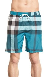 Men's Burberry Brit 'Gowers' Check Swim Trunks Bright Turquoise