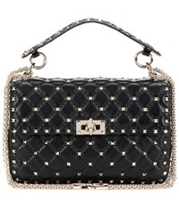 Valentino Rockstud Spike Medium Quilted Leather Handbag Black