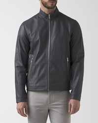 Theory Morvec Jacket In Grey Leather