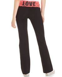 Material Girl Active Juniors' Lace Waistband Wide Leg Yoga Pants Wild Coral