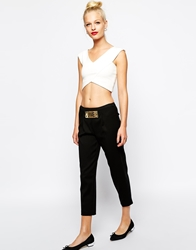 Love Moschino Cropped Trousers With Love Plaque Embellishment Black