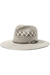 Rag And Bone Leather Trimmed Woven Paper Straw Fedora Gray