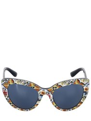 Dolce And Gabbana Maiolica Acetate Cat Eye Sunglasses