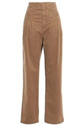 Brunello Cucinelli Woman Pleated High Rise Straight Leg Jeans Camel