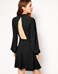 Asos High Neck Skater With Cut Out Back Black
