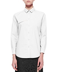 Carven Long Sleeve Poplin Blouse W Embroidery Detail