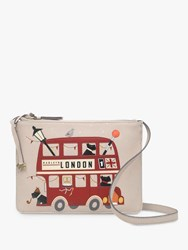 Radley Party Bus Small Zip Top Leather Cross Body Bag Dove Grey