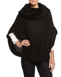 Neiman Marcus Fur Cowl Neck Knit Poncho Black