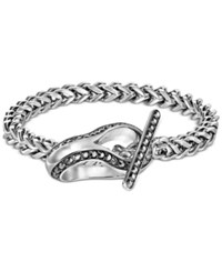 Swarovski Men's Silver Tone Heavy Curb Pave Detail Toggle Bracelet Jet