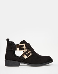 River Island Cut Out Double Buckle Flat Boots Black
