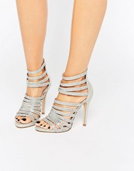 Faith Silver Caged Heeled Sandals Silver