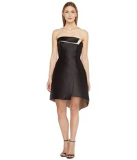Halston Strapless Color Blocked Structure Black Champagne Women's Dress
