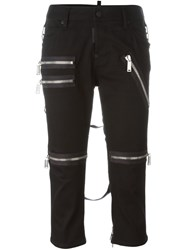 Dsquared2 Cropped Zip Detail Trousers Black