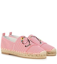 Roger Vivier Blooming Rv Canvas Espadrilles Red