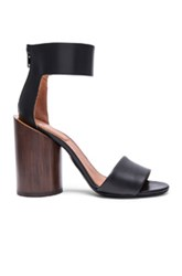 Givenchy Polly Shiny Leather Sandals With Wood Heel In Black