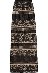 Temperley London Ruffled Silk Paneled Lace Maxi Skirt Black
