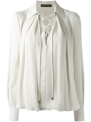 Plein Sud Jeans Lace Up Front Blouse Nude And Neutrals