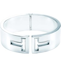 Tiffany And Co. T Cutout Hinged Cuff In Sterling Silver Medium