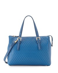 Tod's Signature Embossed Leather Satchel Bag Blue