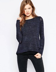 B.Young Long Sleeve Grey Marl T Shirt Parisian Night Navy