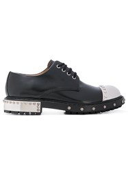 Alexander Mcqueen Metallic Cap Brogues Men Calf Leather Leather Rubber 40 Black