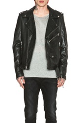 Blk Dnm Leather Motorcycle Jacket In Black