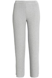 Missoni Cropped Metallic Crochet Knit Straight Leg Pants Light Gray
