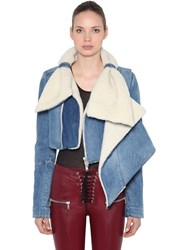 Unravel Shearling And Denim Cropped Jacket Light Blue