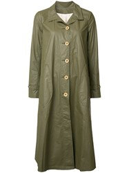 Deep Moss Button Up Raincoat Green