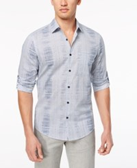 Alfani Men's Abstract Geo Print Shirt Created For Macy's Authentic Navy