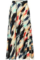 Dkny Woman Belted Printed Linen Midi Skirt Multicolor