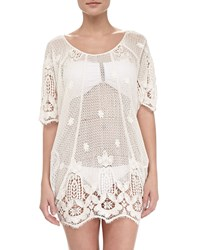 Miguelina Jessica Sheer Scalloped Coverup White