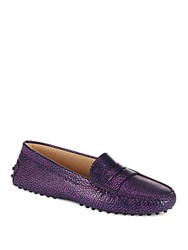 Tod's Gommini Sparkling Leather Moccasins Dark Blue