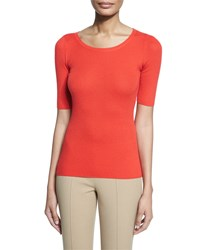 Michael Kors Half Sleeve Round Neck Cashmere Top Coral Women's