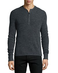 Rag And Bone Rag And Bone Garrett Long Sleeve Henley Shirt Charcoal Grey Size Small