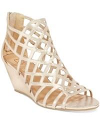 Material Girl Henie Caged Demi Wedge Sandals Only At Macy's Women's Shoes Gold