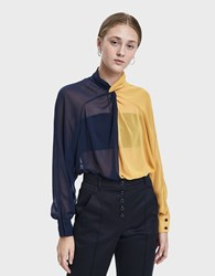 Creatures Of Comfort Coy Two Tone Blouse Navy Yellow