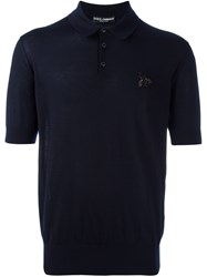 Dolce And Gabbana Bee Applique Knit Polo Shirt Blue