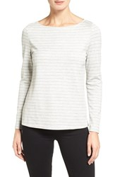 Nordstrom Women's Collection Stripe Knit Bateau Neck Tee