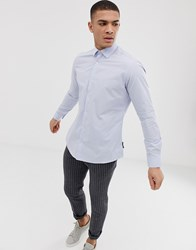 French Connection Plain Poplin Slim Fit Shirt Blue