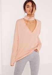 Missguided Petite Nude Choker Neck Sweatshirt