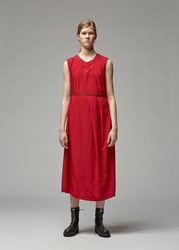 Yohji Yamamoto Long Pleated Belted Dress Red