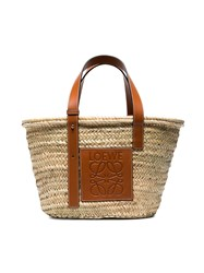 Loewe Logo Medium Raffia Basket Bag With Leather Trim Nude And Neutrals