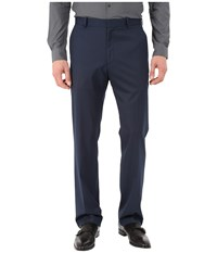Perry Ellis Solid Textured Flat Front Pants Navy Men's Casual Pants