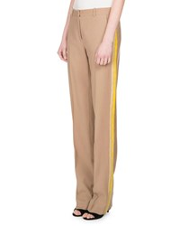 Givenchy Wool Track Stripe Straight Leg Trousers Camel